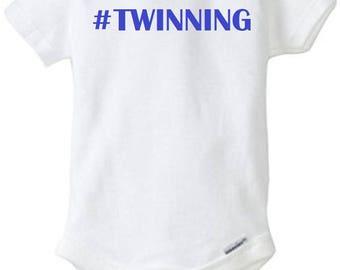 """Twin Onesie Set """"#Twinning"""""""