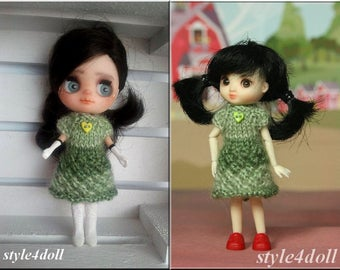 style4doll knitting dress for Amelia Thimble and Blythe LPS 4 4/8""