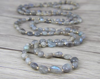 Long Bead Necklace Labradorite beads Necklace Labradorite Necklace Boho Necklace Gemstone Necklace Yoga lariat necklace Mother Gift NL-040