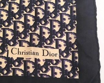 "Christian Dior  ""CD"" Logo Navy and Cream Silk Scarf"