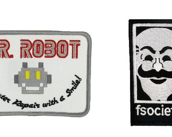 MR Robot FSOCIETY TV Series Show Embroidery Set of 2 patches White Halloween costume Easy Iron/Sew On