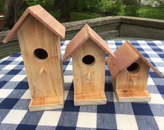 Birdhouses- Pallet Wood, Decorative - Set of Three - Porch, Patio, Garden, Outdoor Decoration