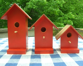 Pine Birdhouses - Decorative, Paprika - Porch, Deck, Garden Decorating