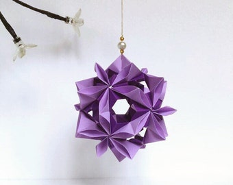 Violet Flower Kusudama, Purple Kusudama, Paper Flower, Origami Flower, Wedding Decor, Origami Ornament, Origami Gift, Japanese Decor