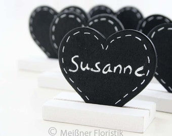 Place card wedding; 50 place cards heart plaque