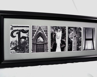 "Framed Letter Art - ""Faith"" Inspirational"