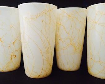 Fabulous Hazel Atlas Butterscotch Drizzle Milk Glass Tumblers, Set of Four