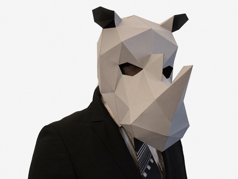 Rhino Mask DIY printable Animal Head Rhinoceros Mask