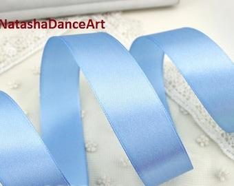 Blue ribbon 1'' /25 mm/, satin ribbon, ribbon by the yard, fabric ribbon, ribbon for bows, sewing ribbon, ribbon for crafts, 3 meters