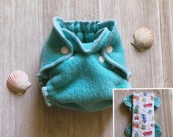 Turquoise Hybrid Fitted Newborn Diaper with Vintage Van Print Prefold Insert