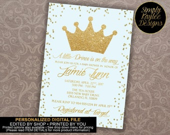 Little Prince Baby Shower Invitation - Blue and Gold Baby Shower Invitation