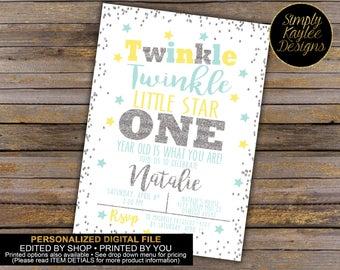 Twinkle Twinkle Little Star Birthday Party Invitation