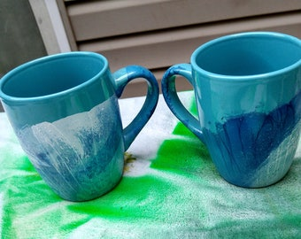Hand Painted Spa Green Coffee Mugs/Green Blue Coffee Mug Set/Spa Green Coffee mug/Unique Wedding Gift/Green Ceramic Mugs/Mothers Day gift