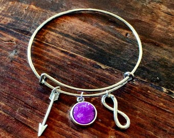 Arrow & Infinity Adjustable Bangle Charm Bracelet