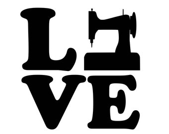 Love Sewing Squared Vinyl Decal Love Singer Sewing Machine, Quilting for macbook, laptop, cars, yeti tumblers 0210