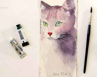 "Original painting of a cat with green eyes-original minimalist watercolor of a cat-pet painting feline painting-cat watercolour- 3.9"" x 9.8"""