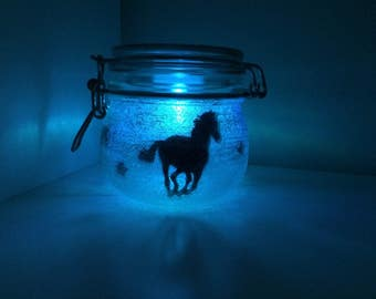 Horses colour changing glitter jar, horse jar