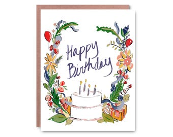 Celebration, Happy Birthday, hand painted - Illustrated blank card, 4.25x5.5""