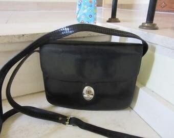 French Black Lizard Shoulder Bag LA BAGAGERIE VINTAGE 80's High Quality Bag