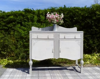 A Gorgeous 1940's Vintage Sideboard in Paris Grey and Old White. Shabby Chic.