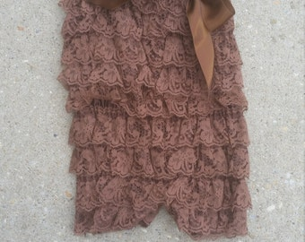 Coffee Brown Lace Romper