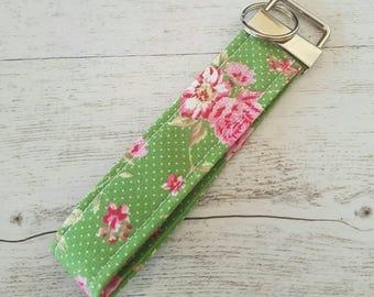 Shabby chic key fob, wristlet, key holder