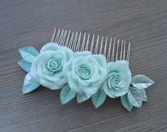 Mint green wedding comb Mint flowers comb Mint green flower hair clip Wedding hair jewelry Silver hair accessory Mint Silver rose hair vine