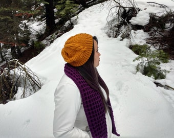 Cable knit slouchy beanie