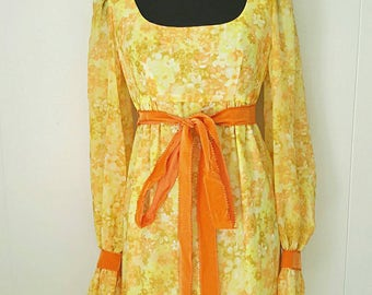 70s Citrus Floral Maxi Dress With Orange Velvet Details