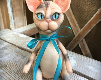 Sphynx cat. Hairless sphinx kitten. Clay toy. Textile doll