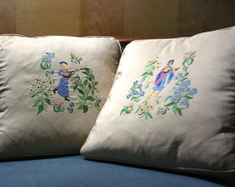 """Vintage """"His & Hers"""" Embroidered Medieval Minstrel Down Filled Throw Pillows"""