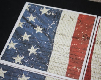 Patriotic decor/ceramic tiles/drink coasters/us constitution/patriotic gift/red white blue/housewarming gift/independence day/4th of July