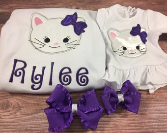 Matching Girl Doll Shirts;Cat Shirts;Girl And Doll;Dollie And Me;Custom Doll Clothes;18 Inch Doll Clothes;White Kitty Cat;Baby Doll Clothes