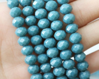 6x8mm Full Strand Aqua Blue Glass Beads Rondelle Jewelry Beads Sparkling Glass Lead Free AB057A