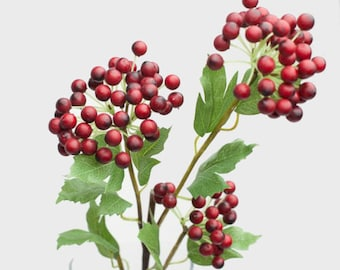 """Set of 6 Holiday Red Berry Branch Christmas Decoration 28"""" Realistic, Premium Faux flower berries for Home, Weddings Centerpiece, Xmas Decor"""
