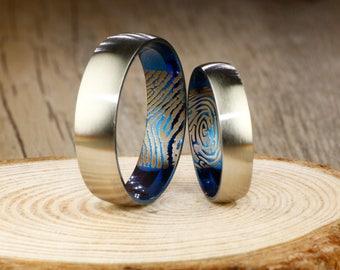 Custom Inner Fingerprint Ring, Personalized Ring, Simple Wedding Bands, Titanium Rings Set, Anniversary Rings Set