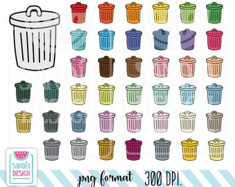 43 Doodle Trash can clipart. Personal and comercial use.