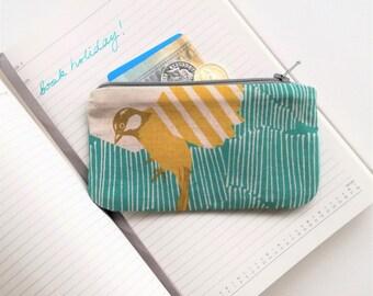 Bird coin purse - Turquoise & mustard bird print, pink lined zipped purse / Travel purse / Money wallet / Key pouch / Card holder