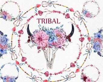 "Watercolor Boho clipart: ""TRIBAL CLIPART"" Wedding Clipart Wreaths and Bouquets Skull DIY clip art Arrow Wreaths Invitation clipart"