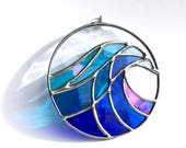 Handmade Crashing Wave Stained Glass