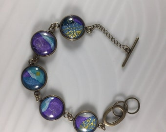 Blue and Purple Pattern Chiyogami Bracelet