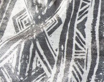 Grey Aztec Lino Print Chenille Upholstery Fabric