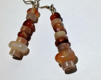moonstone and carnelian dangle earrings