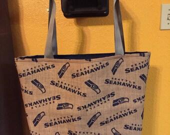 Seahawks Burlap Tote Bag