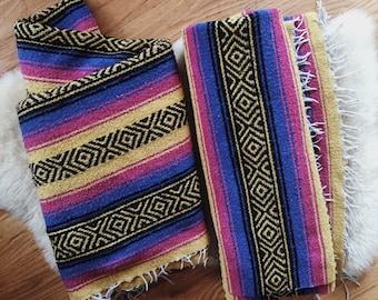 Mexican Falsa Blanket, Pink Yellow Blue Falsa Blnaket, Beach Blanket, Picnic Blanket, vintage falsa blanket