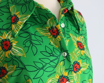1970s Shirt - Floral Print Button Up Shirt - Long Sleeve With Collar - Green Yellow Red Vintage Top - Retro - Hipster - Size Medium