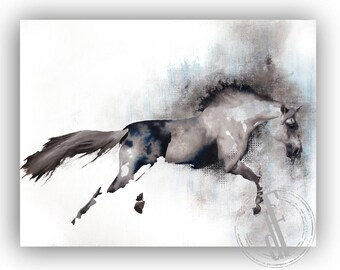 ANIMAL HORSE PAINTING on canvas paper // 20'''x16''// contemporary oil art modern animal horse painting figurative
