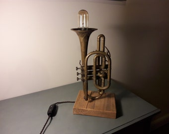 Upcycled vintage cornet/trumpet table lamp