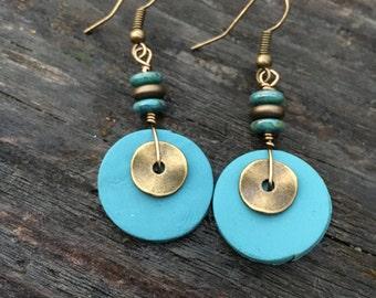 Boho Earrings, Hippie Earrings, Unique Earrings, Blue Earrings, Dangle Earrings, Clay Earrings