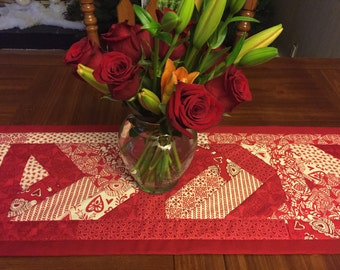 Valentines Day Quilted Table Runner Moda North Woods Red & White